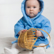 The baby in a dressing gown. — Stock Photo