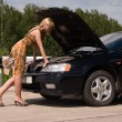 Stock Photo: Young womand broken car.