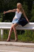 Itenerant attractive woman. — Stock Photo
