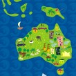 Stock Vector: Cartoon map of australia
