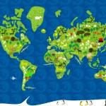 Fauna map pf the world — Stock Vector