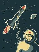 Retro uzay adamı — Stok Vektör