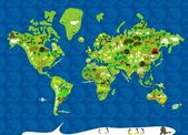 Fauna map pf the world — Stok Vektör