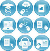Iconos de e-learning — Vector de stock