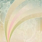 Sfondo sgangherata con arcobaleno e fiori — Vettoriale Stock