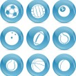 Blue ball icons Balls — Stock Vector