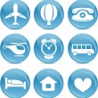 Blue ball icons travel — Stock Vector #6558970