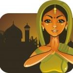 dziewczyna bardzo indyjskie witania — Wektor stockowy