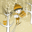 Boy in the winter forest — Stock Vector