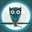 Cute Owl against the moon — Stock Vector
