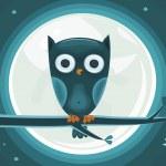 Cute Owl against the moon — Stock Vector #6559771