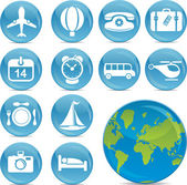 Blue ball icons travel — Stock Vector