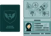 护照与邮票 — 图库矢量图片