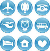 Blue ball icons travel — Vector de stock