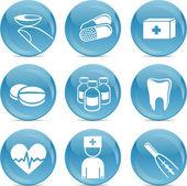 ícones brilhantes médicos — Vetor de Stock
