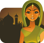 Pretty indian girl — Stock Vector