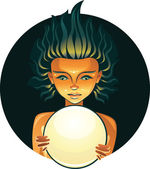 Pretty girl with fortune telling ball — Stock Vector