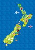 Cartoon map of new zeland — Stock Vector