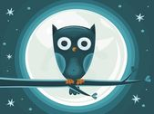 Cute Owl against the moon — Stock Vector