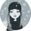 Vector de stock : Pretty girl with skates