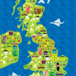 Cartoon map of the uk - Stock Vector
