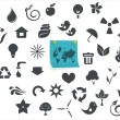 Ecological icons with a sticker — Stock Vector