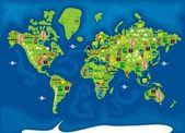 Cartoon map of world — Stock Vector