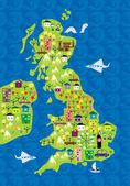 Cartoon map of the uk — Stock Vector