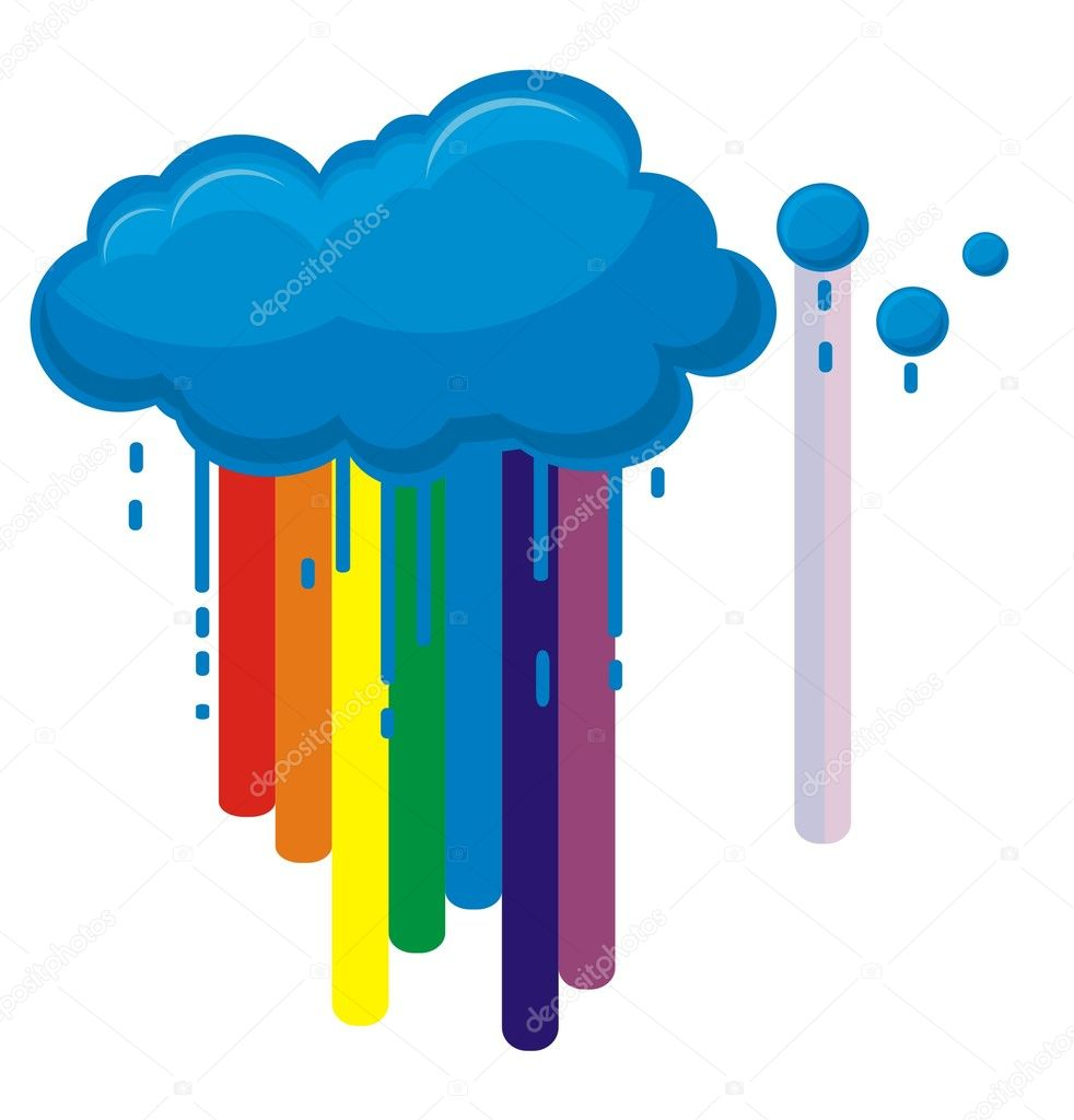 Cloud, rainbow, and rain — Stock Vector #6565085