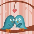Stock Vector: Birds in love