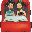 Stock Vector: Pretty girls on car