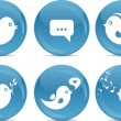 Blue ball icons - bird tweeting - Stok Vektör