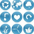 Stock Vector: Blue ball icons environmnet