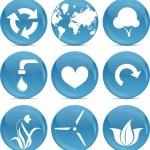 Blue ball icons environmnet — Stock Vector