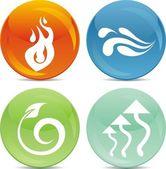 Glänzende kugel icons - natur elemtns — Stockvektor
