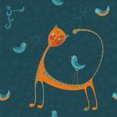 猫と鳥 — ストックベクタ