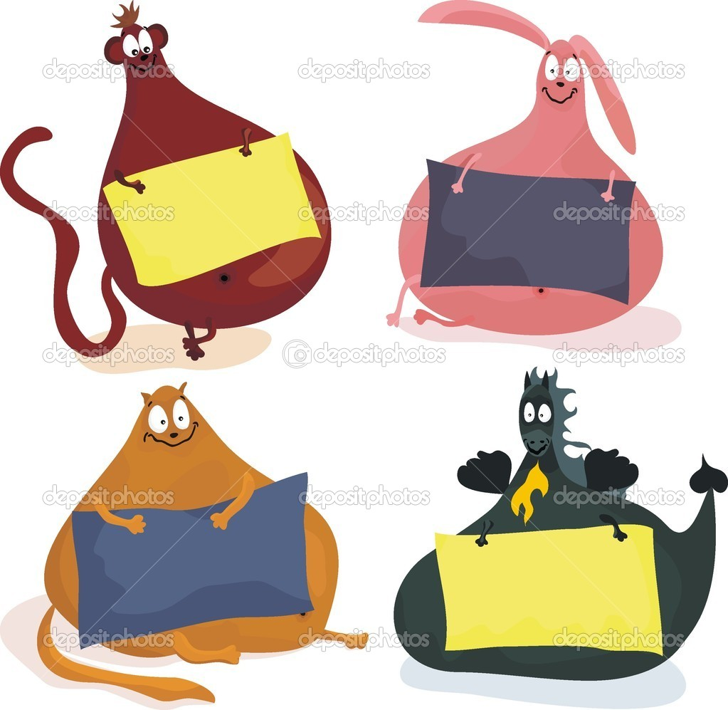 Cute cartoon plumpy animals holding blank banners, so you can input your text on — Stock Vector #6634988