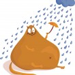 Cat under the rain — Stock Vector