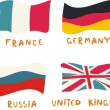 G8 members flags drawn in a childish manner — Stock Vector