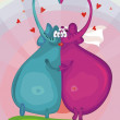 Elephants kissing — Stock Vector