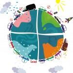 Green planet in 4 seasons — Stock Vector