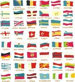 Flags of 48 european countries drawn in childish way — Stok Vektör