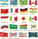 G20 drapeaux dessinés de manière enfantine — Vecteur