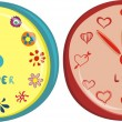 Stock Vector: Love and Flower clocks