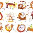 Stock Vector: Zodiac animals