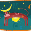 Cow symbolising day and night — Stock Vector