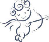 Doodle isolé Cupidon — Vecteur