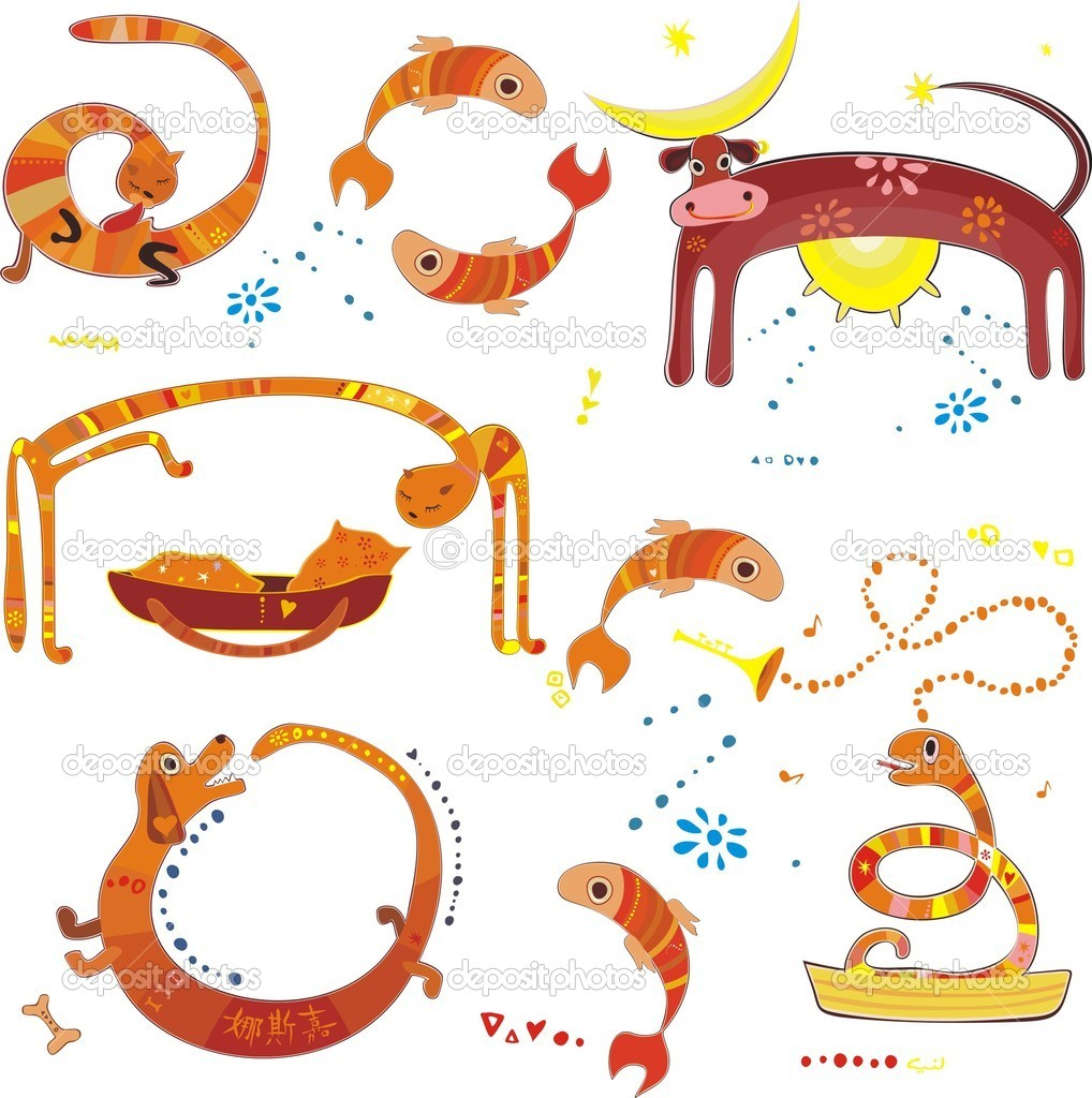Set of cute animals — Stock Vector #6672801