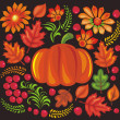 Pumpkin, leaves and flower pattern - Stock Photo