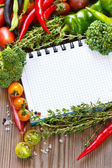 Open notebook and harvest. — Stock Photo